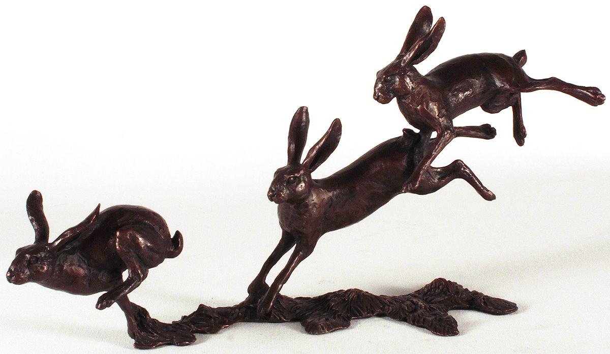 Michael Simpson, Bronze, Small Hares Running Click to enlarge