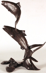 Michael Simpson, Bronze, Salmon Pair Leaping