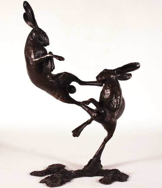 Michael Simpson, Bronze, Medium Hares Boxing No frame image. Click to enlarge