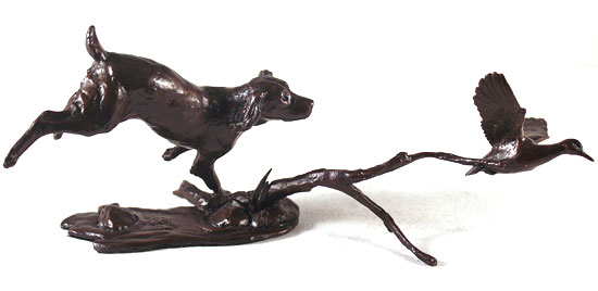 Michael Simpson, Bronze, Cocker Spaniel with Duck No frame image. Click to enlarge