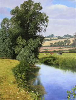 Michael James Smith, Signed limited edition print, Cattle on the River Bank