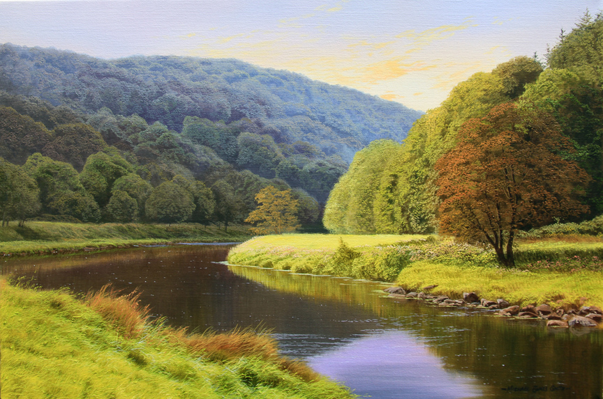 Michael James Smith, Signed limited edition print, Evening in the Wye Valley Click to enlarge