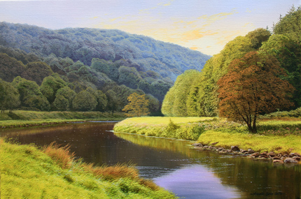 Michael James Smith, Signed limited edition print, Evening in the Wye Valley No frame image. Click to enlarge
