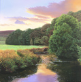Michael James Smith, Original oil painting on panel, Evening on the River