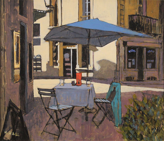 Mike Hall, Original acrylic painting on board, Café Table No frame image. Click to enlarge