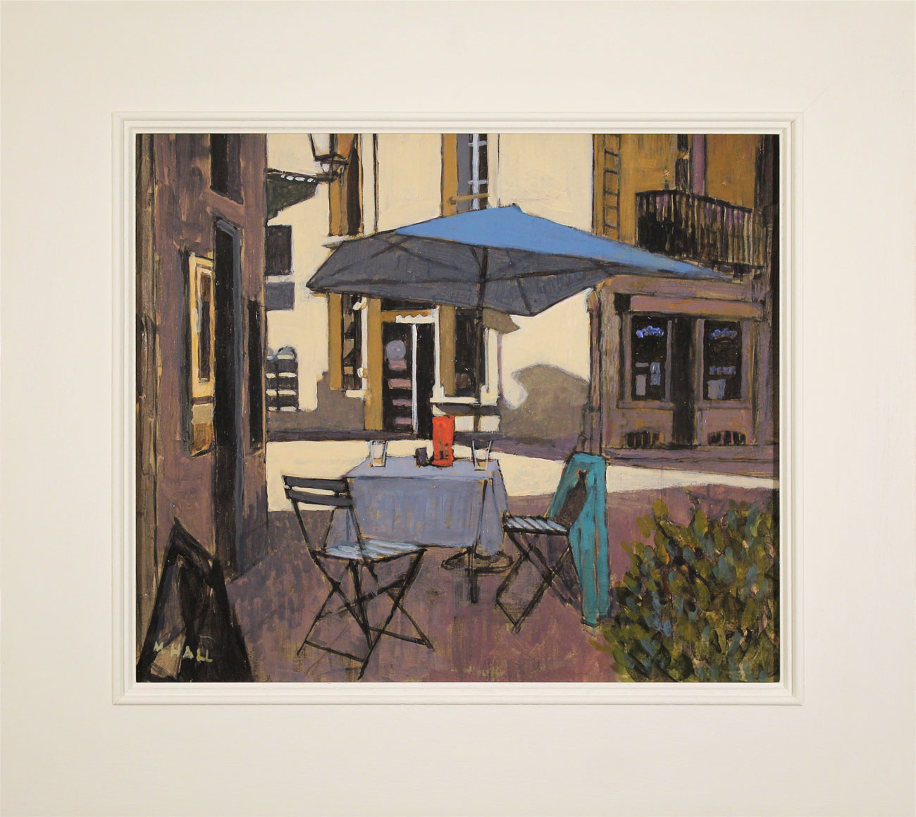 Mike Hall, Original acrylic painting on board, Café Table Click to enlarge