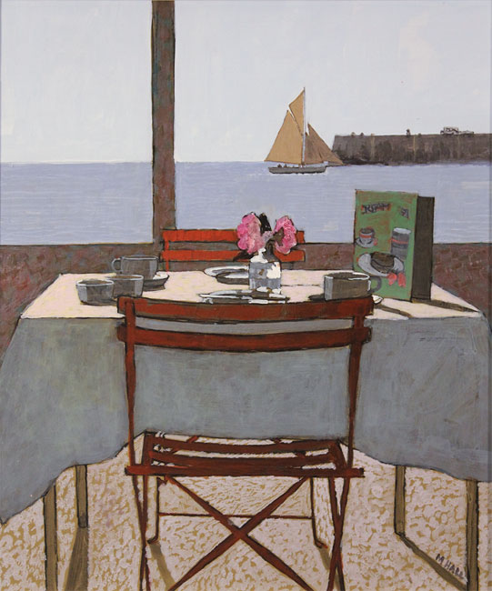 Mike Hall, Original acrylic painting on board, View from the Dining Table No frame image. Click to enlarge