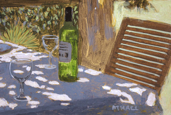 Mike Hall, Original acrylic painting on board, Glass of Wine by the River Signature image. Click to enlarge