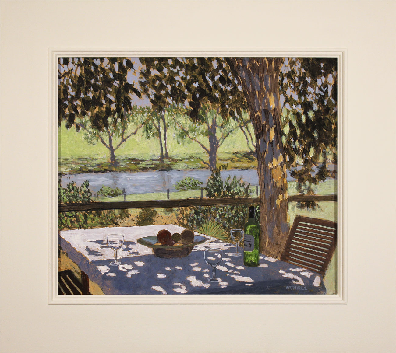 Mike Hall, Original acrylic painting on board, Glass of Wine by the River Click to enlarge