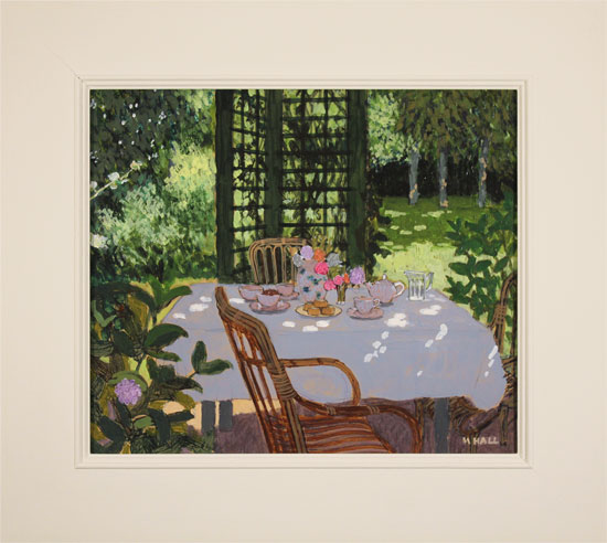 Mike Hall, Original acrylic painting on board, Table Set for Tea