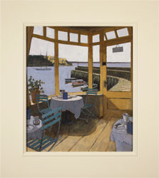 Mike Hall, Original acrylic painting on board, Café by the Harbour