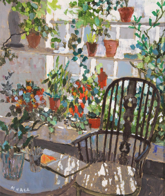 Mike Hall, Original acrylic painting on board, Chair in the Conservatory  No frame image. Click to enlarge