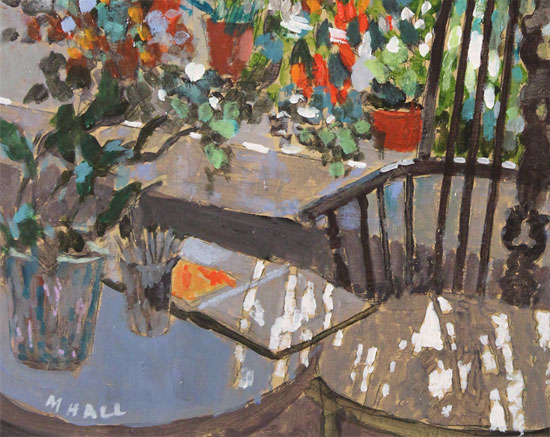 Mike Hall, Original acrylic painting on board, Chair in the Conservatory  Signature image. Click to enlarge