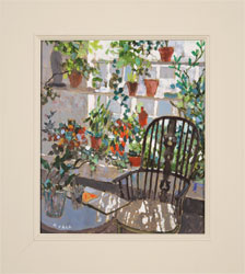 Mike Hall, Original acrylic painting on board, Chair in the Conservatory