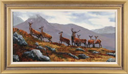 Natalie Stutely, Original oil painting on panel, Stag and Hinds, Scottish Highlands