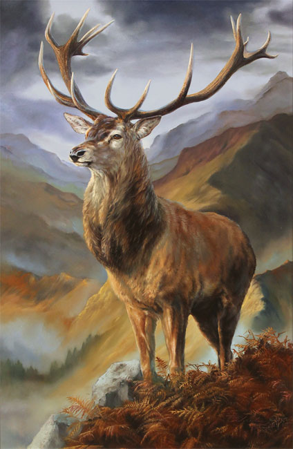 Natalie Stutely, Original oil painting on panel, Highland Monarch
