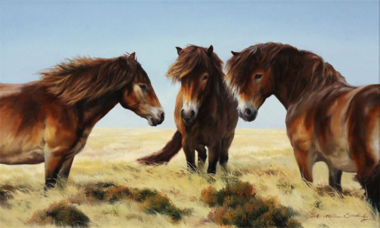 Natalie Stutely, Original oil painting on panel, Moorland Ponies No frame image. Click to enlarge