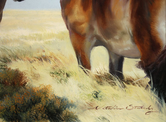 Natalie Stutely, Original oil painting on panel, Moorland Ponies Signature image. Click to enlarge