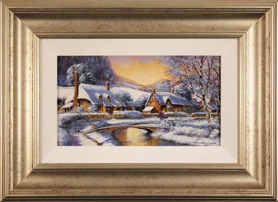 Gordon Lees, Original oil painting on panel, Cotswolds Village in Winter