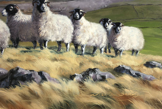 Natalie Stutely, Original oil painting on panel, Flock to Penyghent Signature image. Click to enlarge