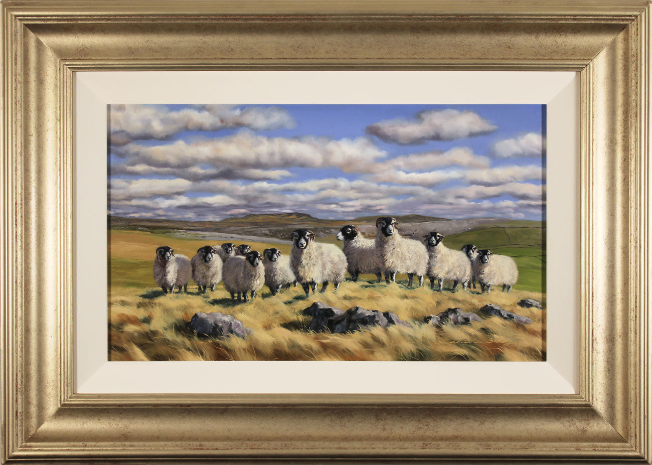 Natalie Stutely, Original oil painting on panel, Flock to Penyghent Click to enlarge