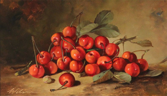 Paul Wilson, Original oil painting on panel, Handpicked Cherries