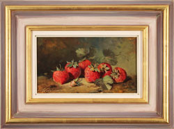 Paul Wilson, Original oil painting on panel, Handpicked Strawberries