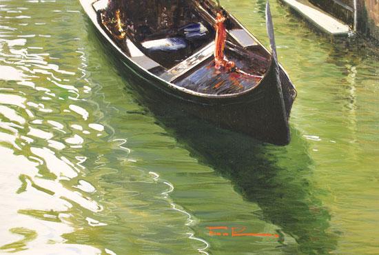 Raffaele Fiore, Original oil painting on canvas, Venetian Gondolas  Signature image. Click to enlarge