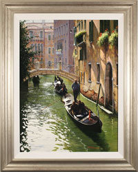 Raffaele Fiore, Original oil painting on canvas, Venetian Gondolas