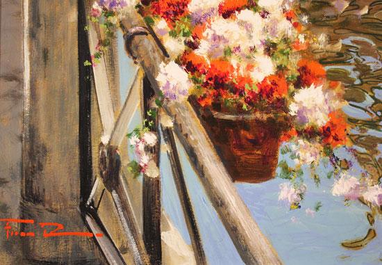 Raffaele Fiore, Original oil painting on canvas, Venetian Canal Signature image. Click to enlarge