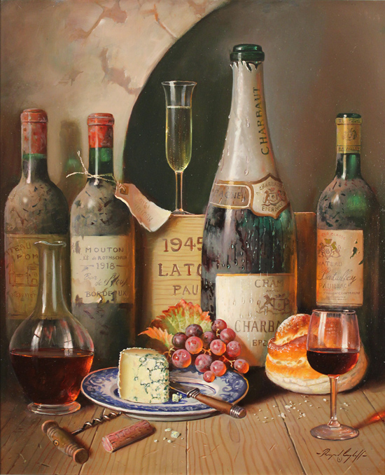 Raymond Campbell, Original oil painting on panel, Cellar Celebrations No frame image. Click to enlarge