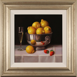 Raymond Campbell, Original oil painting on panel, Bowl of Lemons