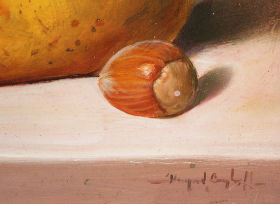 Raymond Campbell, Original oil painting on panel, Fruit to Start  Signature image. Click to enlarge