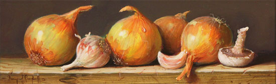Raymond Campbell, Original oil painting on panel, Onions No frame image. Click to enlarge