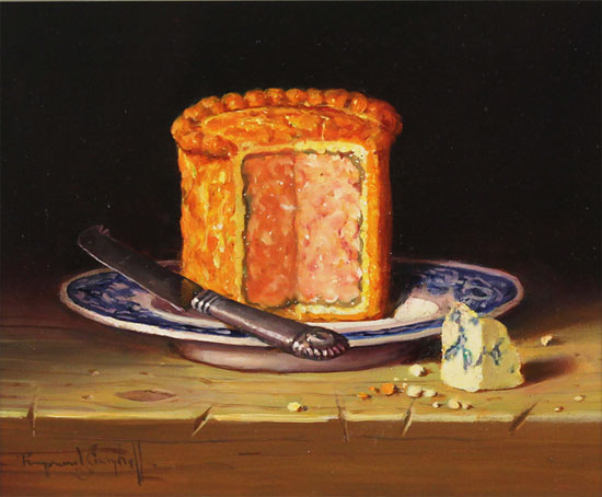 Raymond Campbell, Original oil painting on panel, Pork Pie No frame image. Click to enlarge