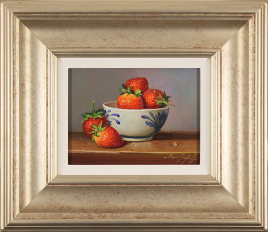 Raymond Campbell, Original oil painting on panel, Bowl of Strawberries
