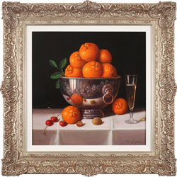 Raymond Campbell, Original oil painting on panel, Bowl of Oranges