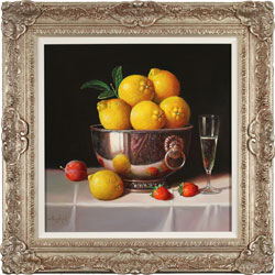 Raymond Campbell, Bowl of Lemons, Original oil painting on panel