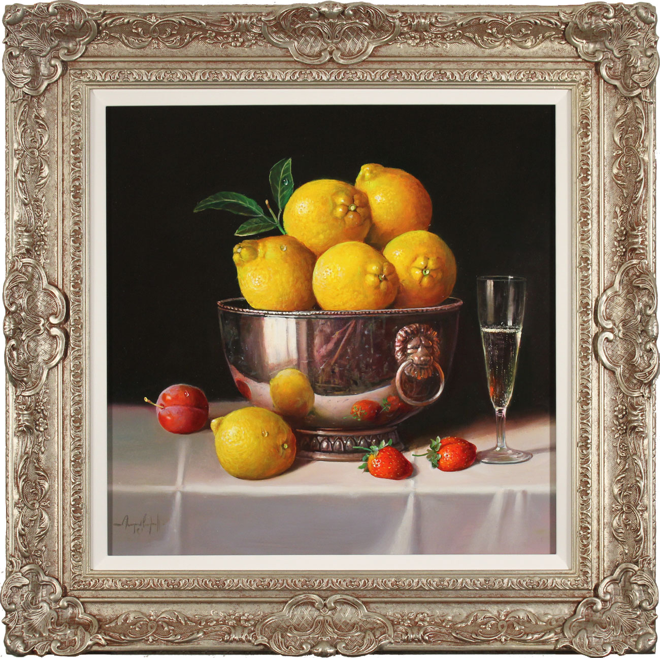 Raymond Campbell, Original oil painting on panel, Bowl of Lemons Click to enlarge