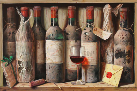 Raymond Campbell, Original oil painting on panel, Favourites from the Cellar No frame image. Click to enlarge