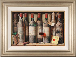 Raymond Campbell, Original oil painting on panel, Favourites from the Cellar