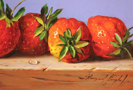 Raymond Campbell, Original oil painting on panel, Strawberries Signature image. Click to enlarge