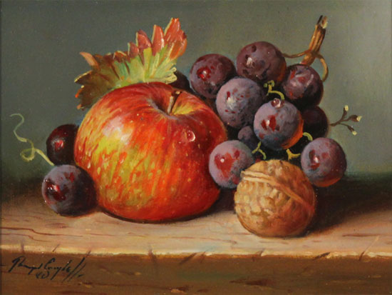 Raymond Campbell, Original oil painting on panel, Apple, Walnut and Grapes No frame image. Click to enlarge