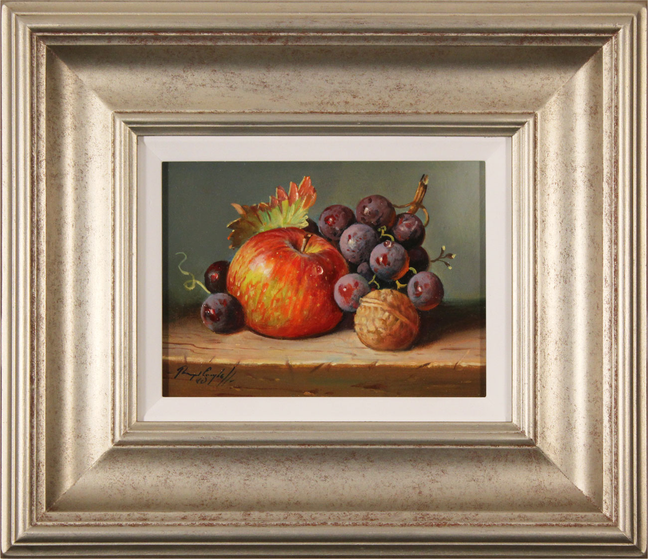 Raymond Campbell, Original oil painting on panel, Apple, Walnut and Grapes Click to enlarge