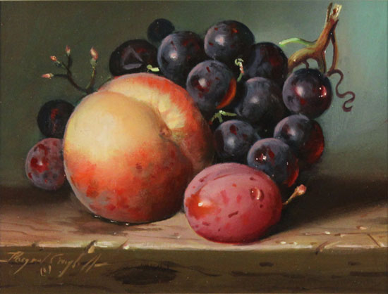 Raymond Campbell, Original oil painting on panel, Peach, Plum and Grapes No frame image. Click to enlarge