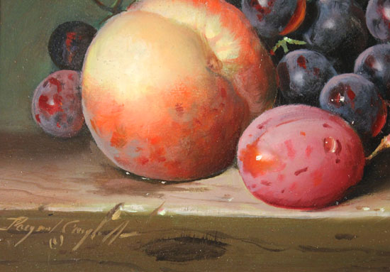 Raymond Campbell, Original oil painting on panel, Peach, Plum and Grapes Signature image. Click to enlarge