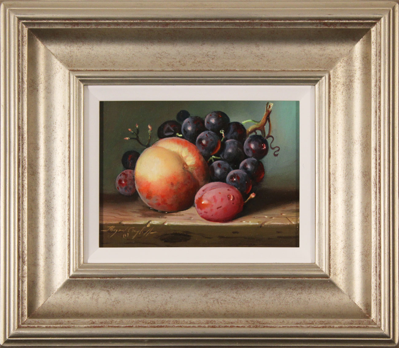 Raymond Campbell, Original oil painting on panel, Peach, Plum and Grapes Click to enlarge
