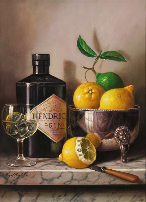 Raymond Campbell, Original oil painting on panel, Gin and Tonic No frame image. Click to enlarge