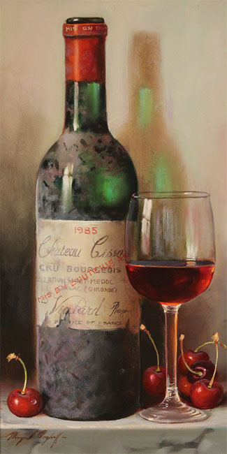 Raymond Campbell, Original oil painting on panel, Chateau Cissac, 1985 No frame image. Click to enlarge