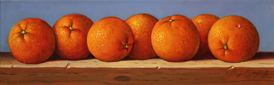 Raymond Campbell, Original oil painting on panel, Oranges No frame image. Click to enlarge